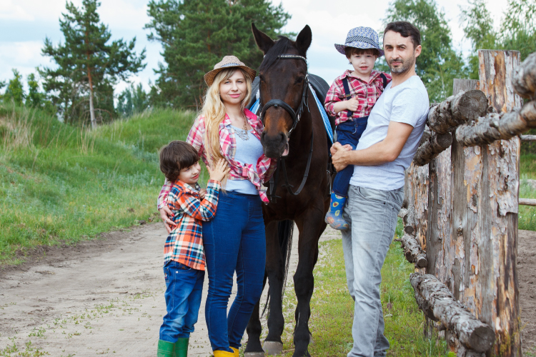 Family with Pet Horse